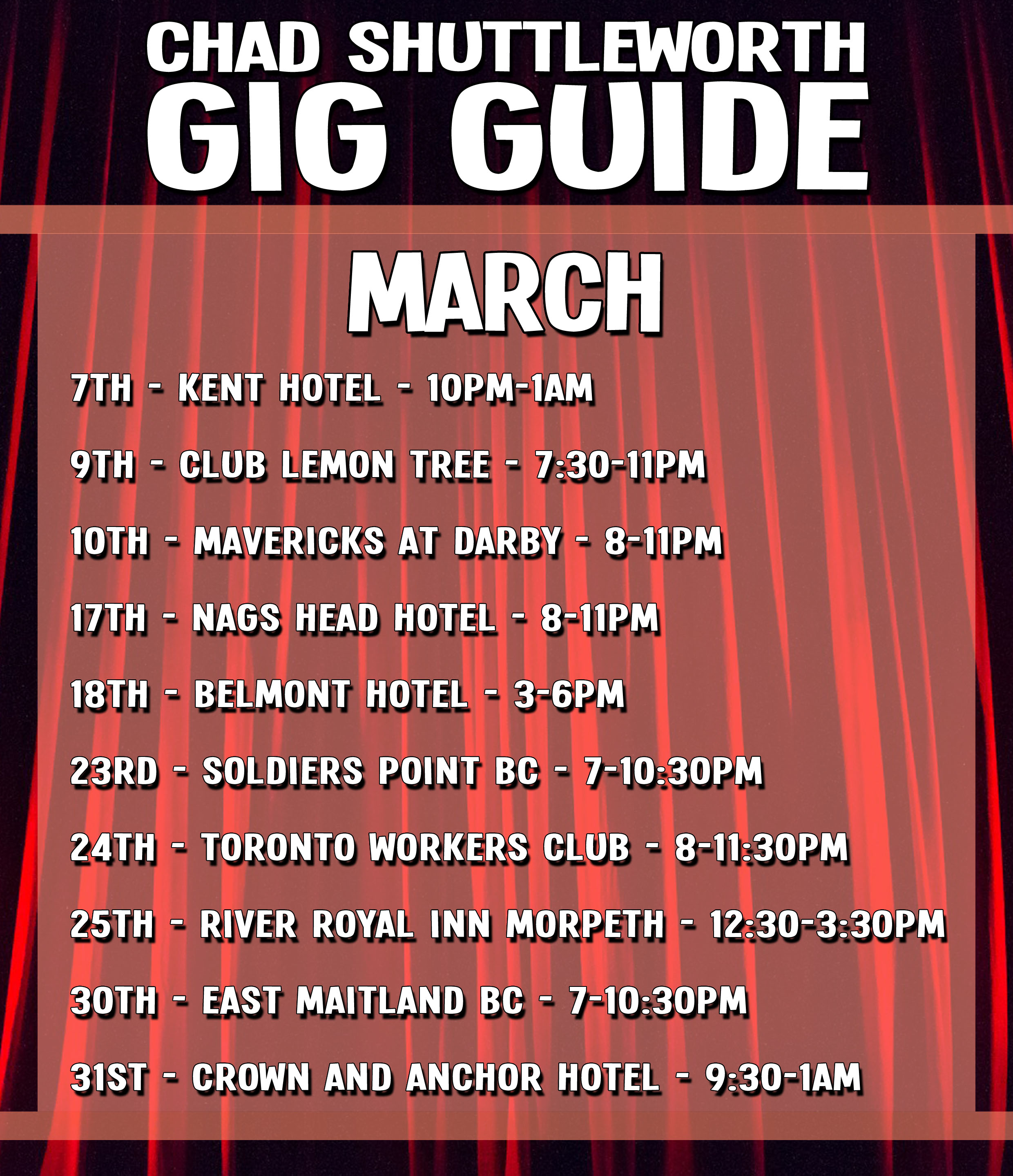 chad shuttleworth gig guide country music